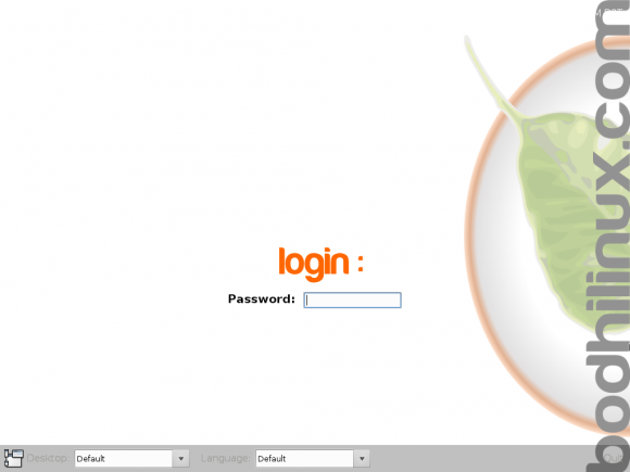 Bodhi Linux login screen