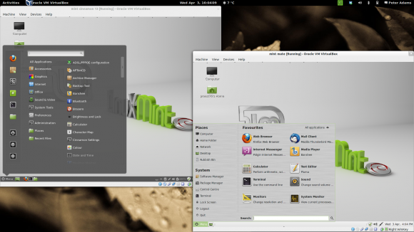 Side by side Linux Mint desktop comparison